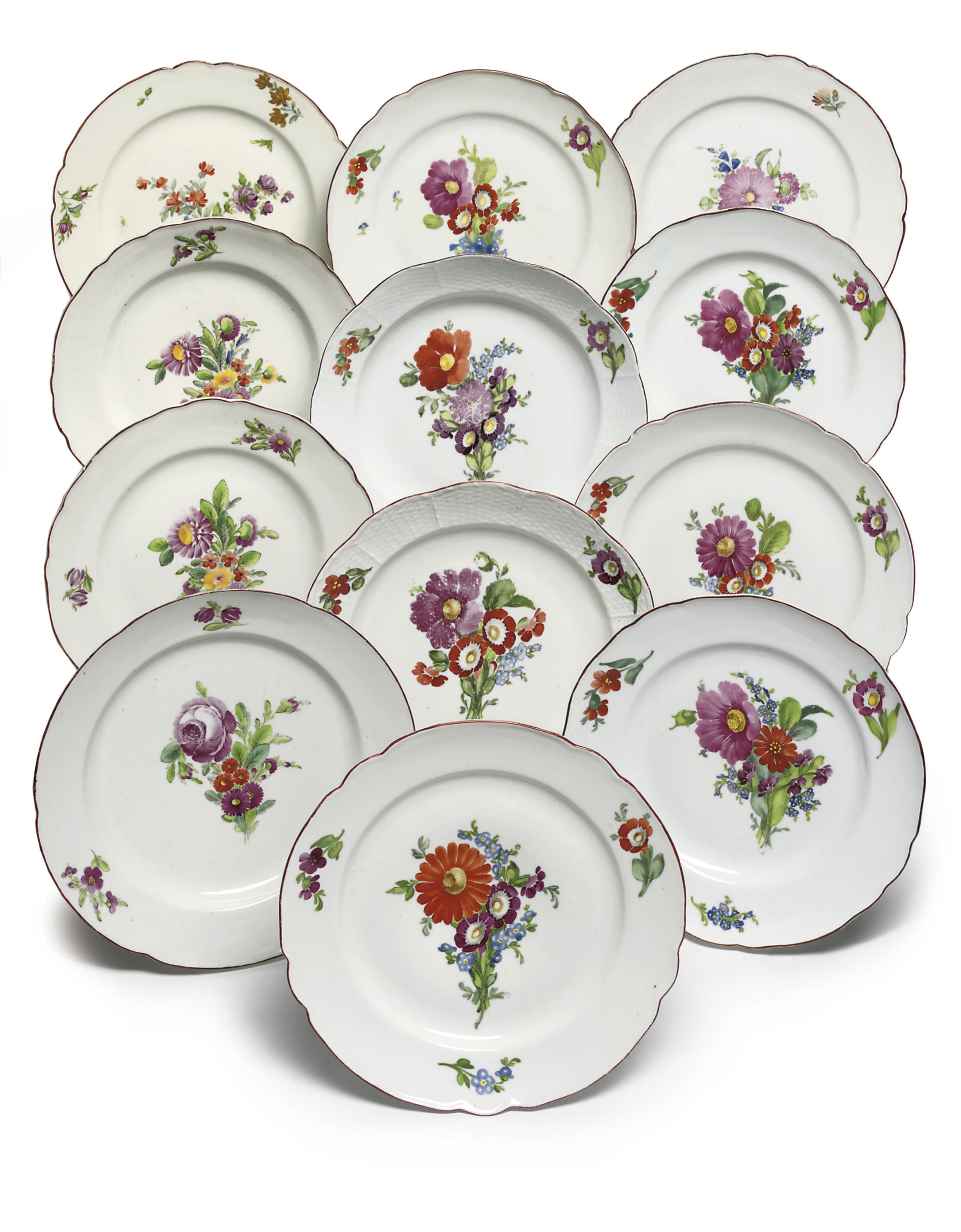 Twelve porcelain plates