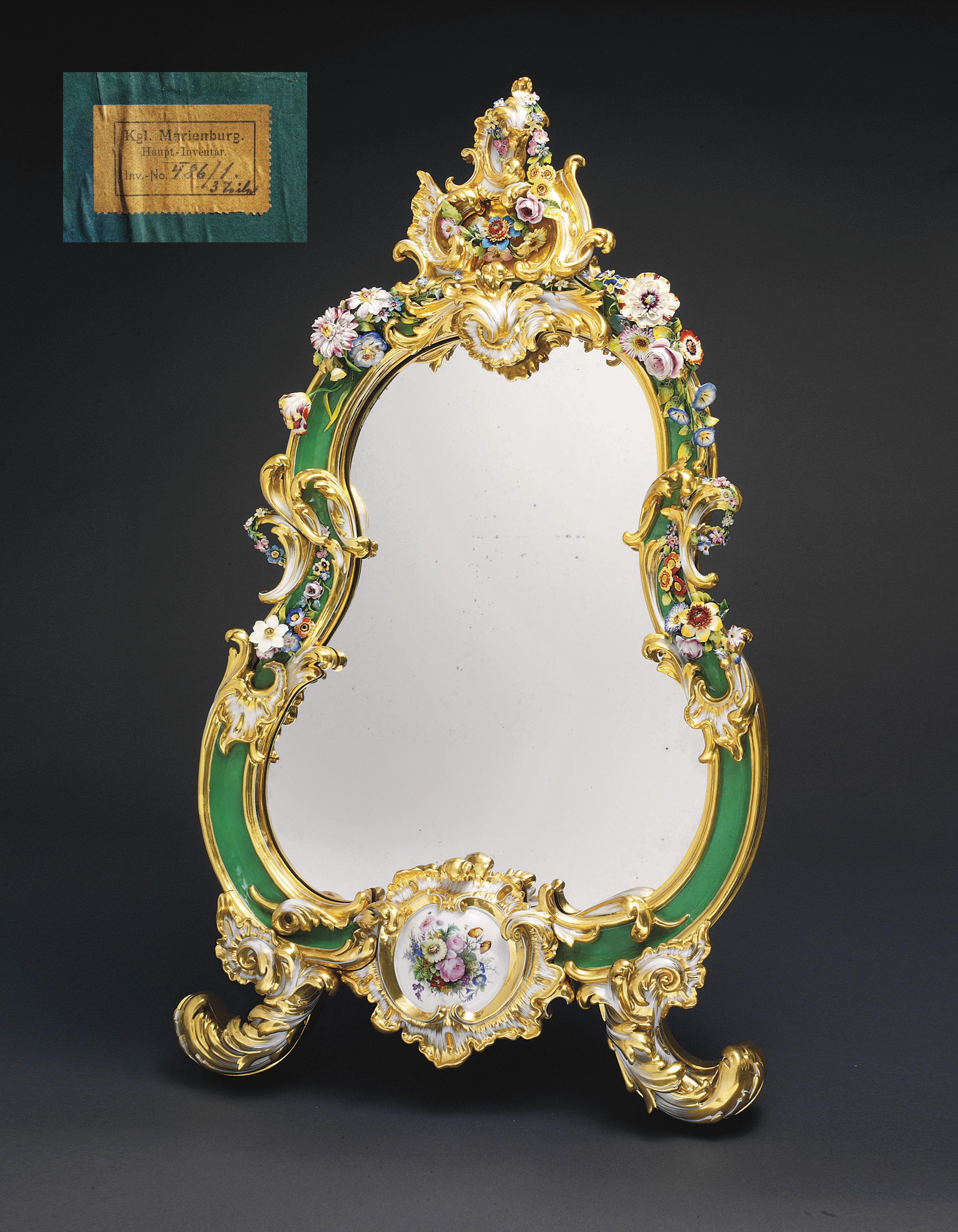 A Porcelain Table Mirror