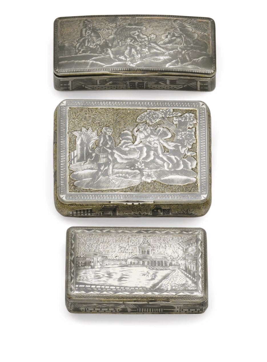 Two silver-gilt and niello snu