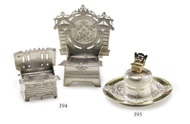 Two silver salt thrones