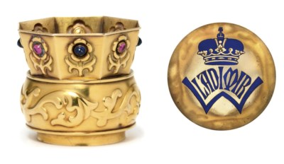 A jewelled gold and enamel tum