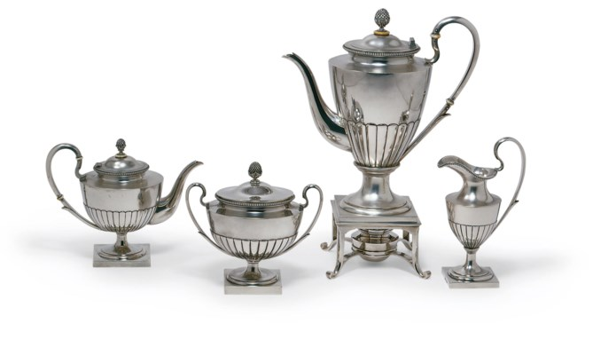 A four-pieces silver tea and c