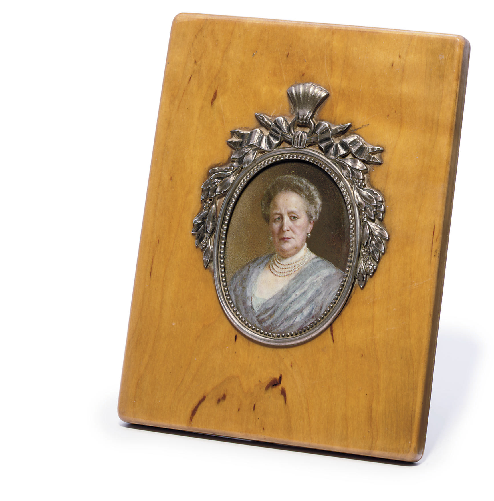 A silver-mounted wooden frame