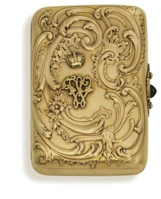 A jewelled gold cigarette-case