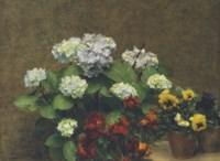 Fleurs (Hortensias, giroflées, deux pots de pensées)