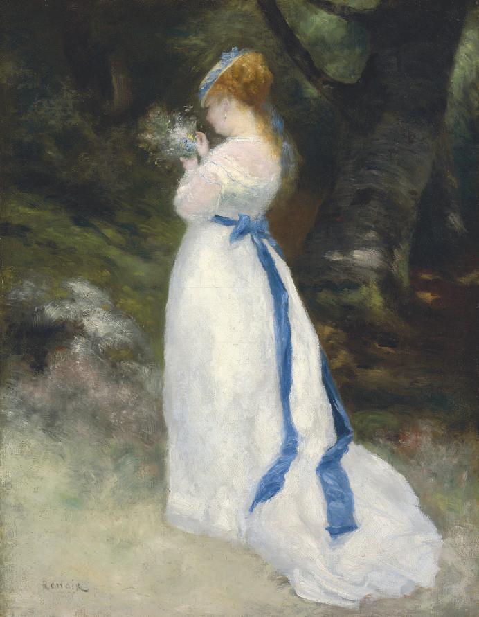 pierre auguste renoir 1841 1919 portrait de lise lise tenant un bouquet de fleurs des. Black Bedroom Furniture Sets. Home Design Ideas