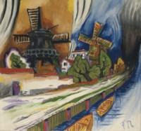 Windmühlen am Kanal (recto); Sitzende und weisses Huhn (verso)