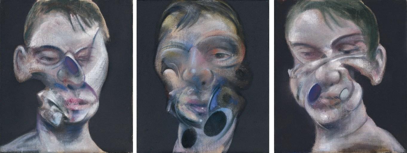弗朗西斯·培根 《自画像三习作》,1975年作于巴黎,35.5 x 30.5公分。2008年6月30日在佳士得伦敦以17,289,250英镑成交。© The Estate of Francis Bacon. All rights reserved. DACS 2018