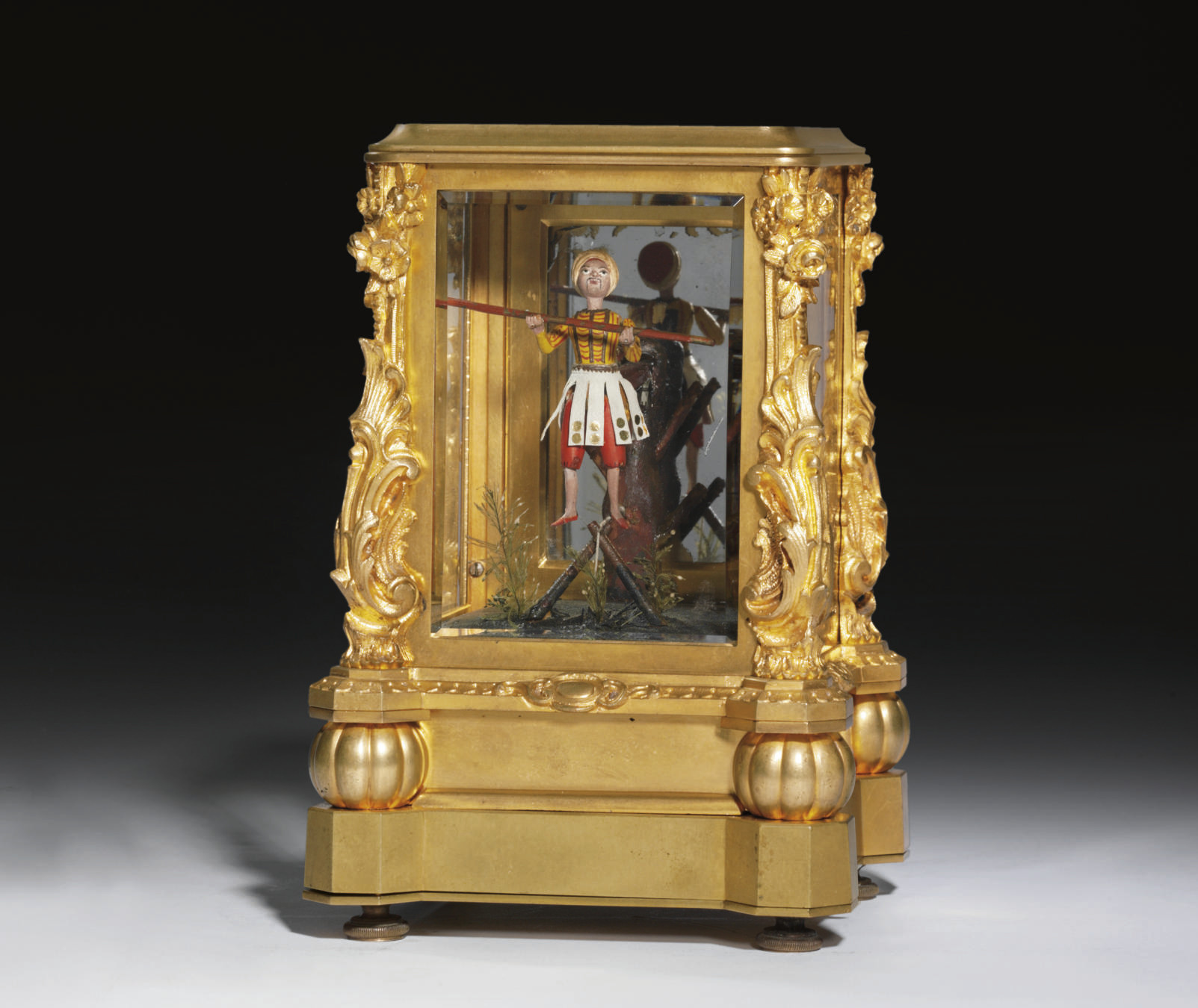 A French gilt-brass musical an