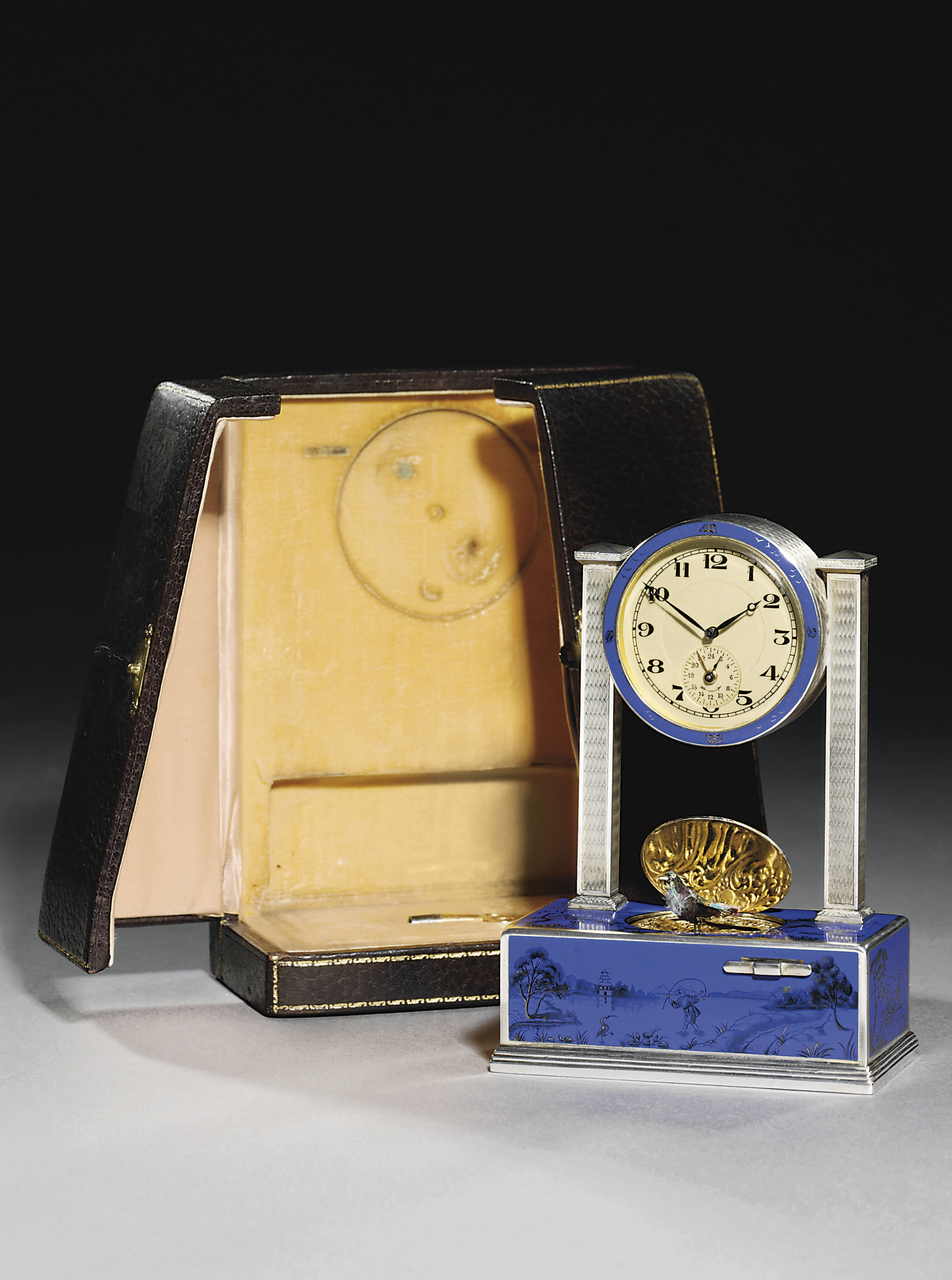 A Swiss silver and enamel time