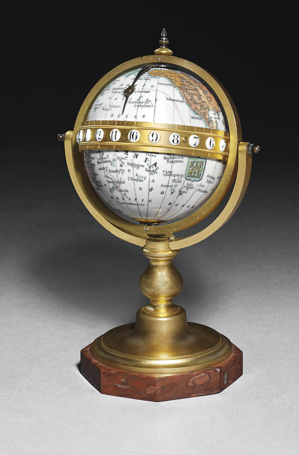 A French enamel, gilt-brass an