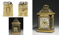 A William III miniature brass-mounted and inlaid ebony striking eight day table clock with pull quarter repeat