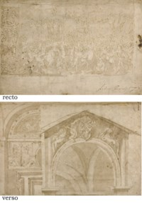 A battle scene with soldiers assaulting a city and a study of a frieze (recto); Studies of a doorway with an elaborate lunette and a lunette with the arms of Pope Leo XI de'Medici supported by putti and flanked by the Virgin and Saint Agatha (verso)