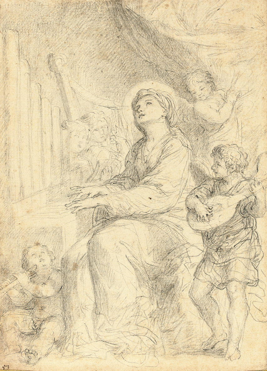 Saint Cecilia playing the organ accompanied by putti