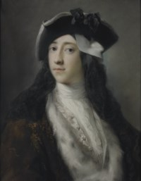 Portrait of Gustavus Hamilton (1710-1746), 2nd Viscount Boyne, long bust-length, wearing an ermine trimmed coat, tricorn hat and mask