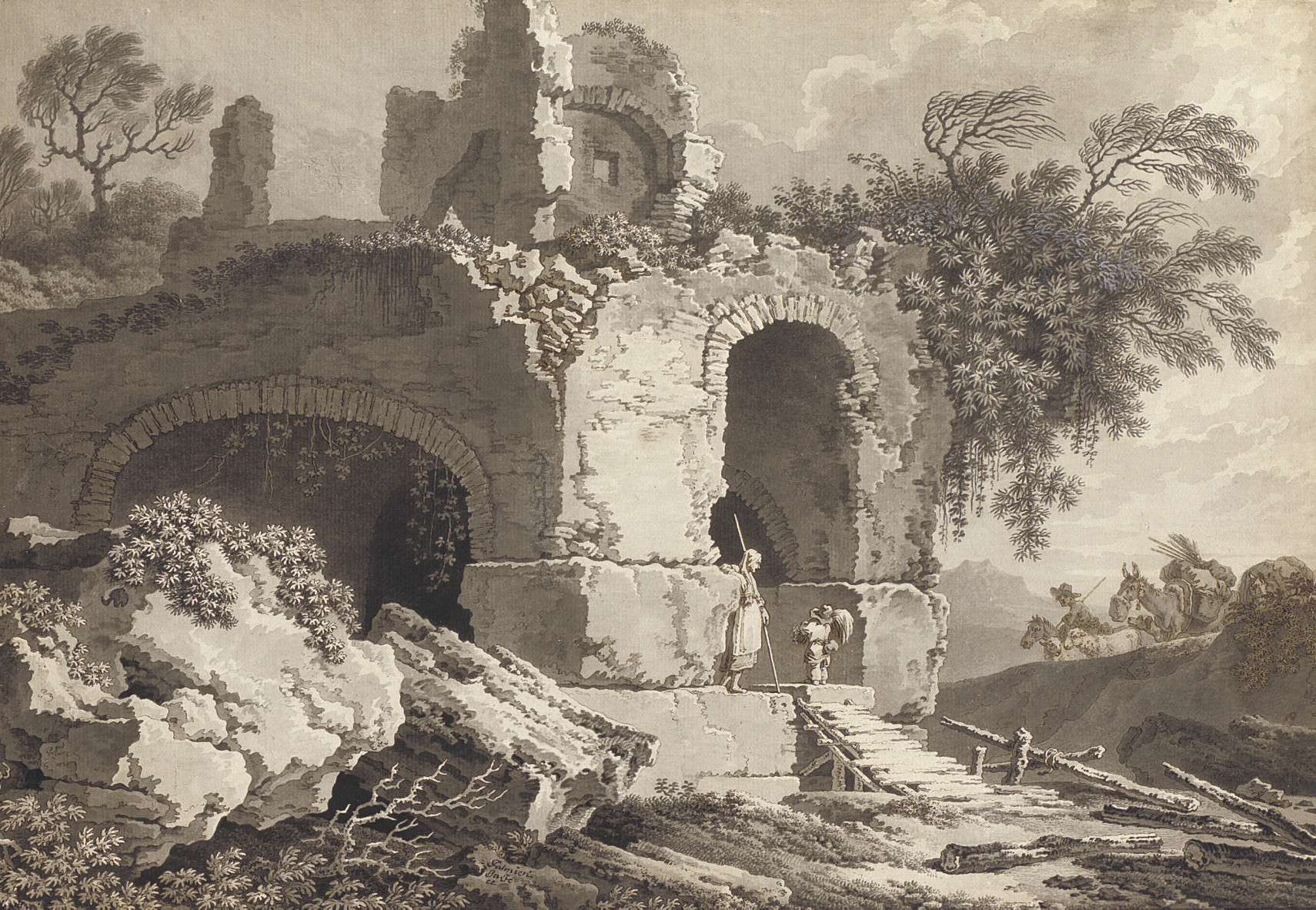 A peasant family and their animals among classical ruins