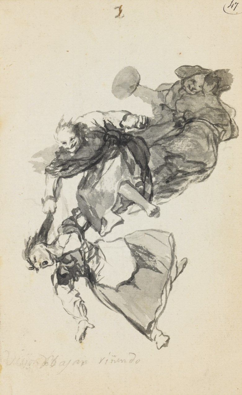 Francisco José de Goya y Lucientes (Fuendetodos 1746-1828 Bordeaux), Bajan riñendo (They go down quarrelling) or Vision de bajar riñendo (Vision going down quarrelling). 9¼ x 5⅝  in (234 x 143  mm). Sold for £2,281,250 on 8 July 2008 at Christie's in London