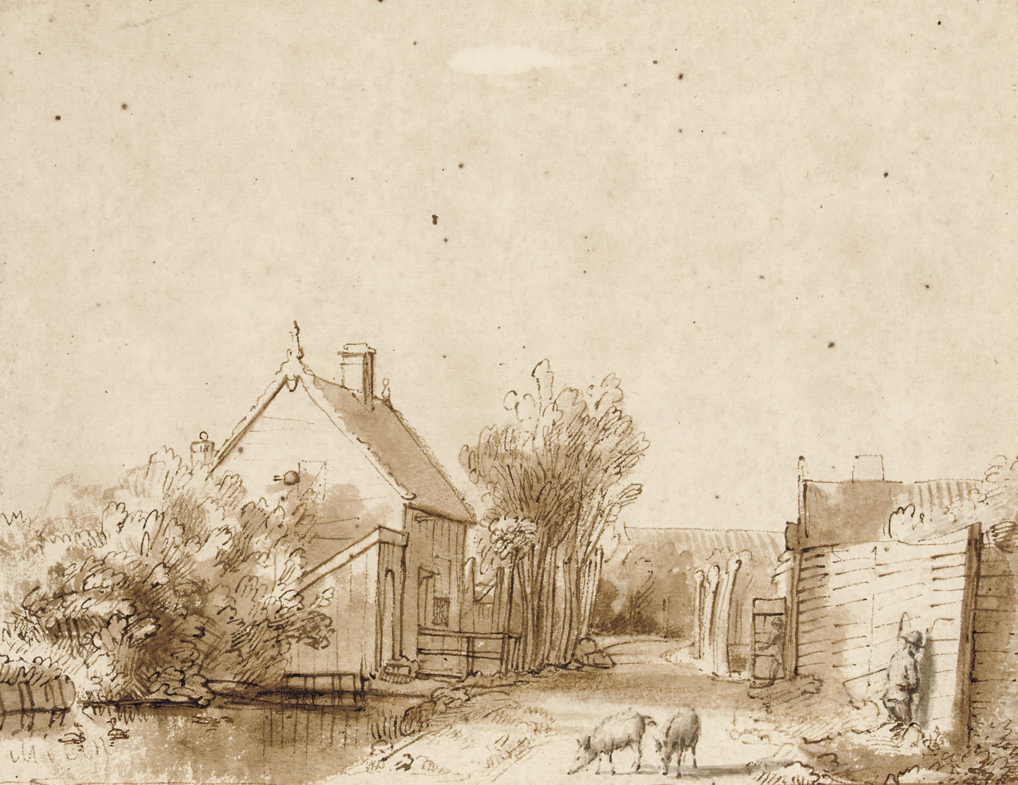 A village street with a duck pond, two pigs and a peasant