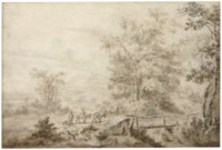 An extensive landscape with a peasant family crossing a bridge