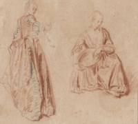 Studies of two girls: one seen from behind looking over her right shoulder, the other seated, holding a basket