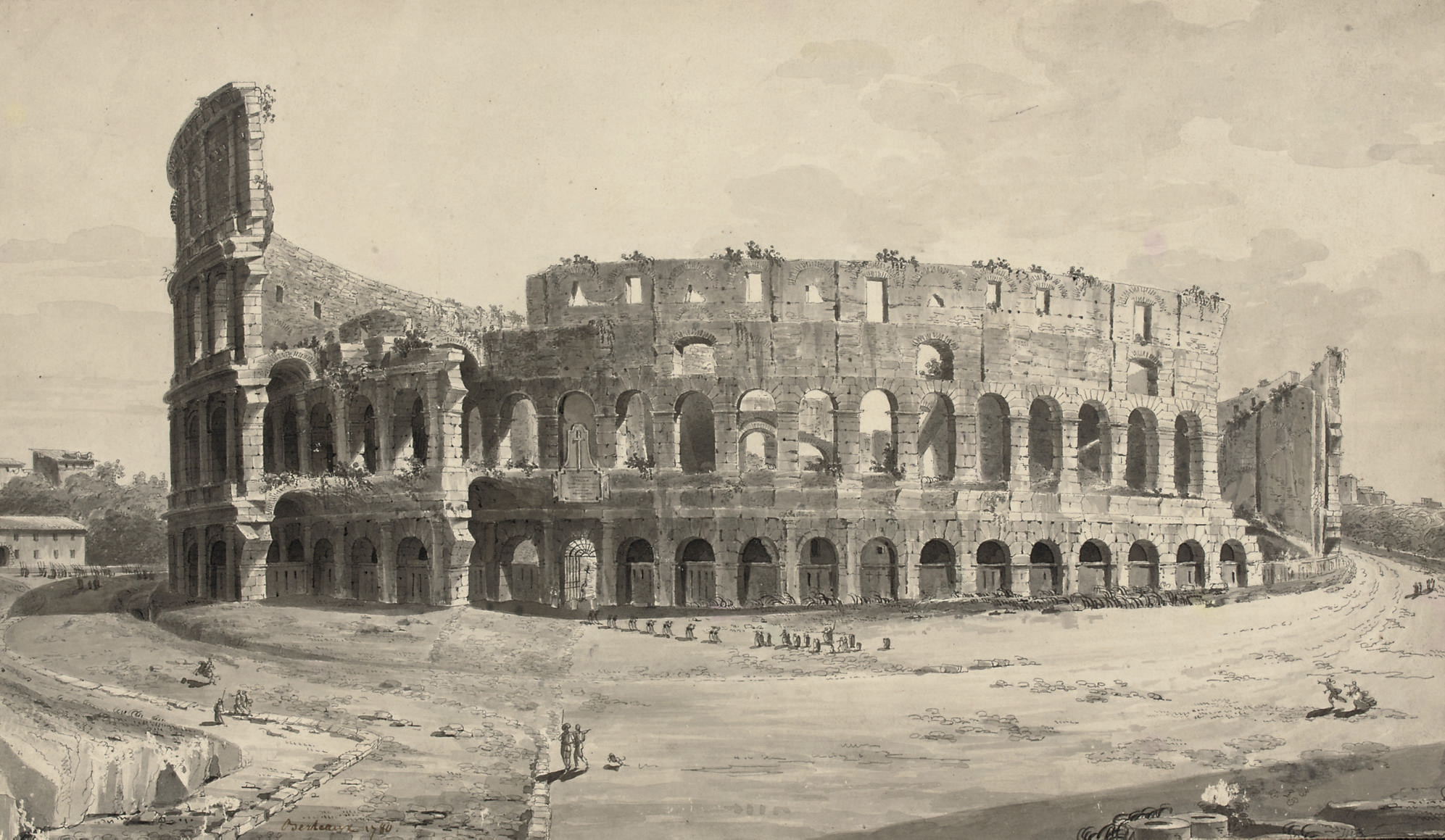 A procession approaching the Colosseum, Rome