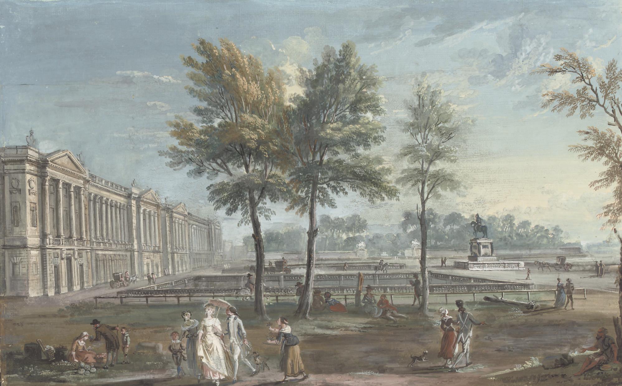 View of the Place Louis XV, later Place de la Concorde, seen from the Champs-Elysées, Paris
