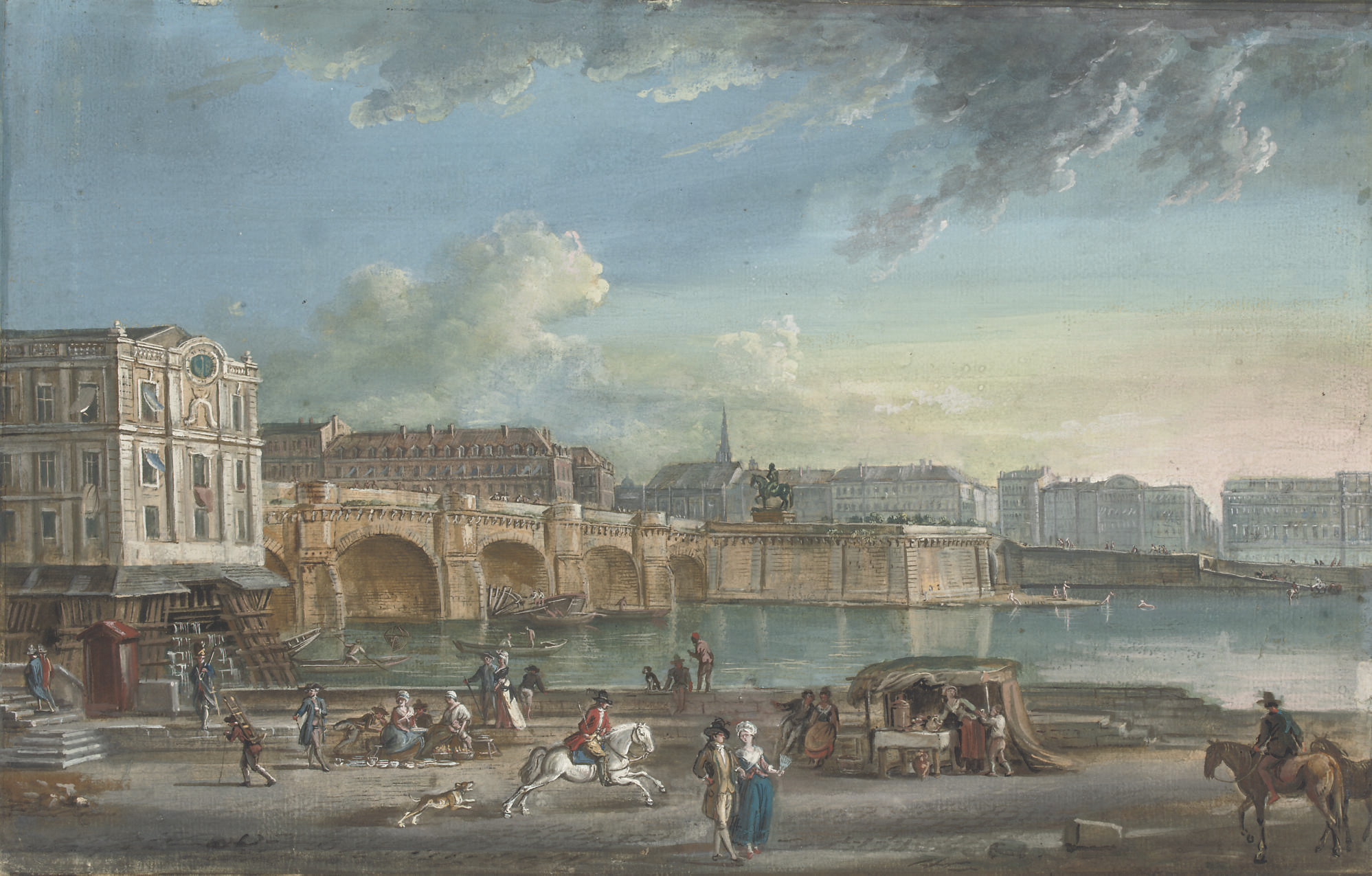 View of the Pont Neuf from the Quai du Louvre, Paris