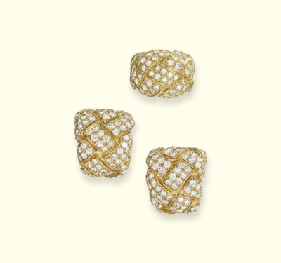 A PAIR OF DIAMOND EAR CLIPS AN