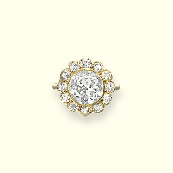A DIAMOND CLUSTER RING, BY GAR