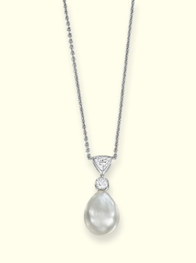 A NATURAL PEARL AND DIAMOND PE