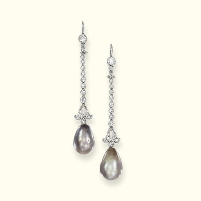 A PAIR OF NATURAL PEARL AND DI
