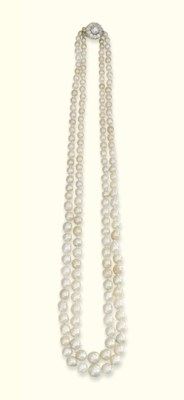 A TWO-ROW NATURAL PEARL NECKLA