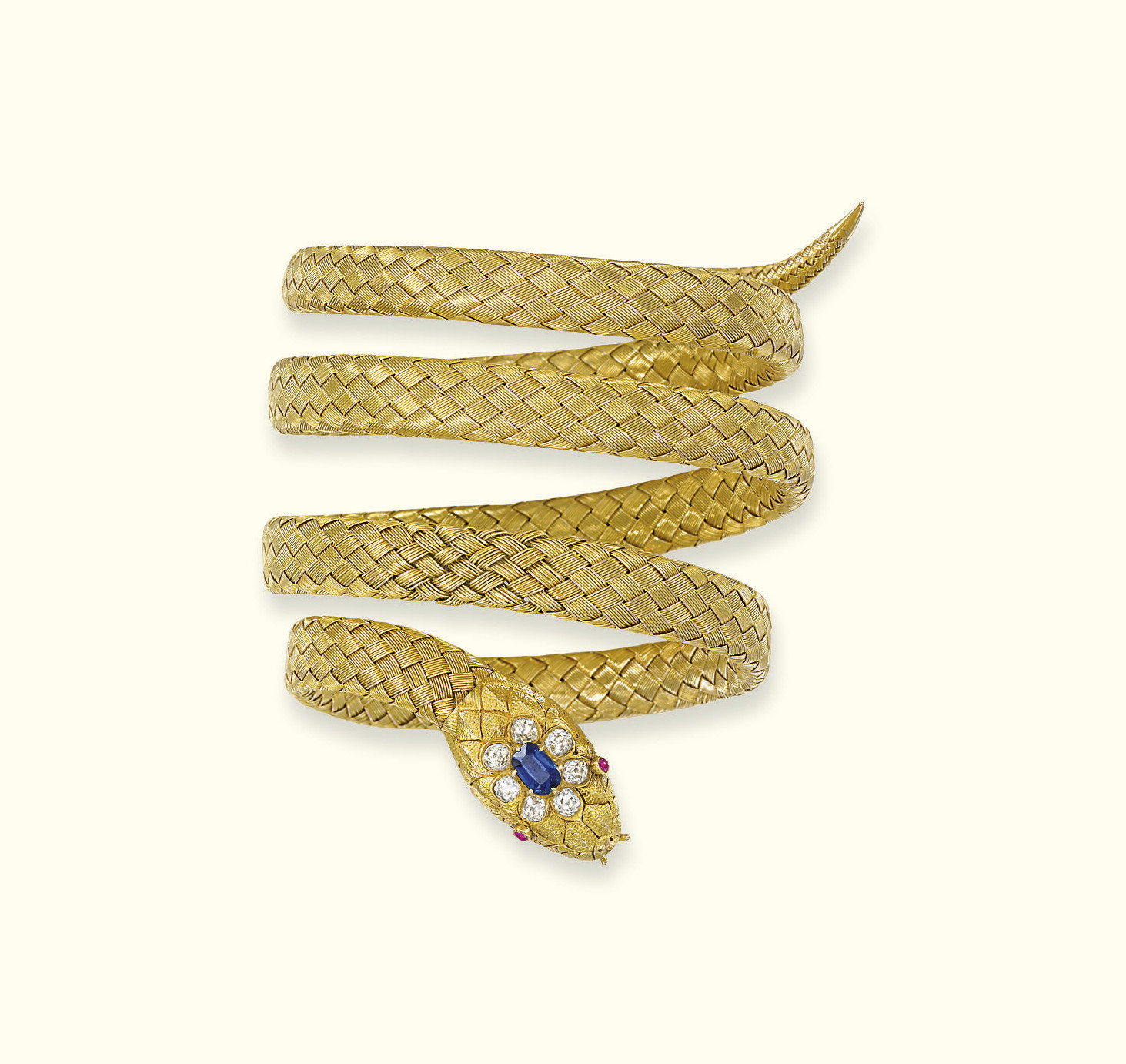 AN ANTIQUE GOLD AND GEM-SET SN