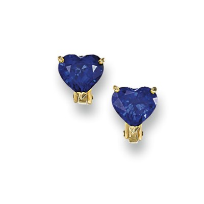 A PAIR OF SAPPHIRE EAR STUDS,