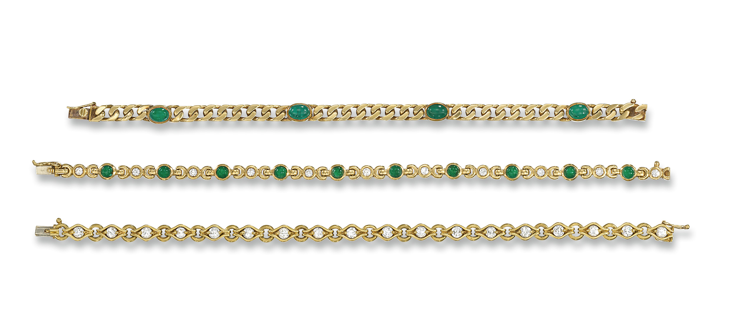 THREE DIAMOND AND GEM-SET BRAC