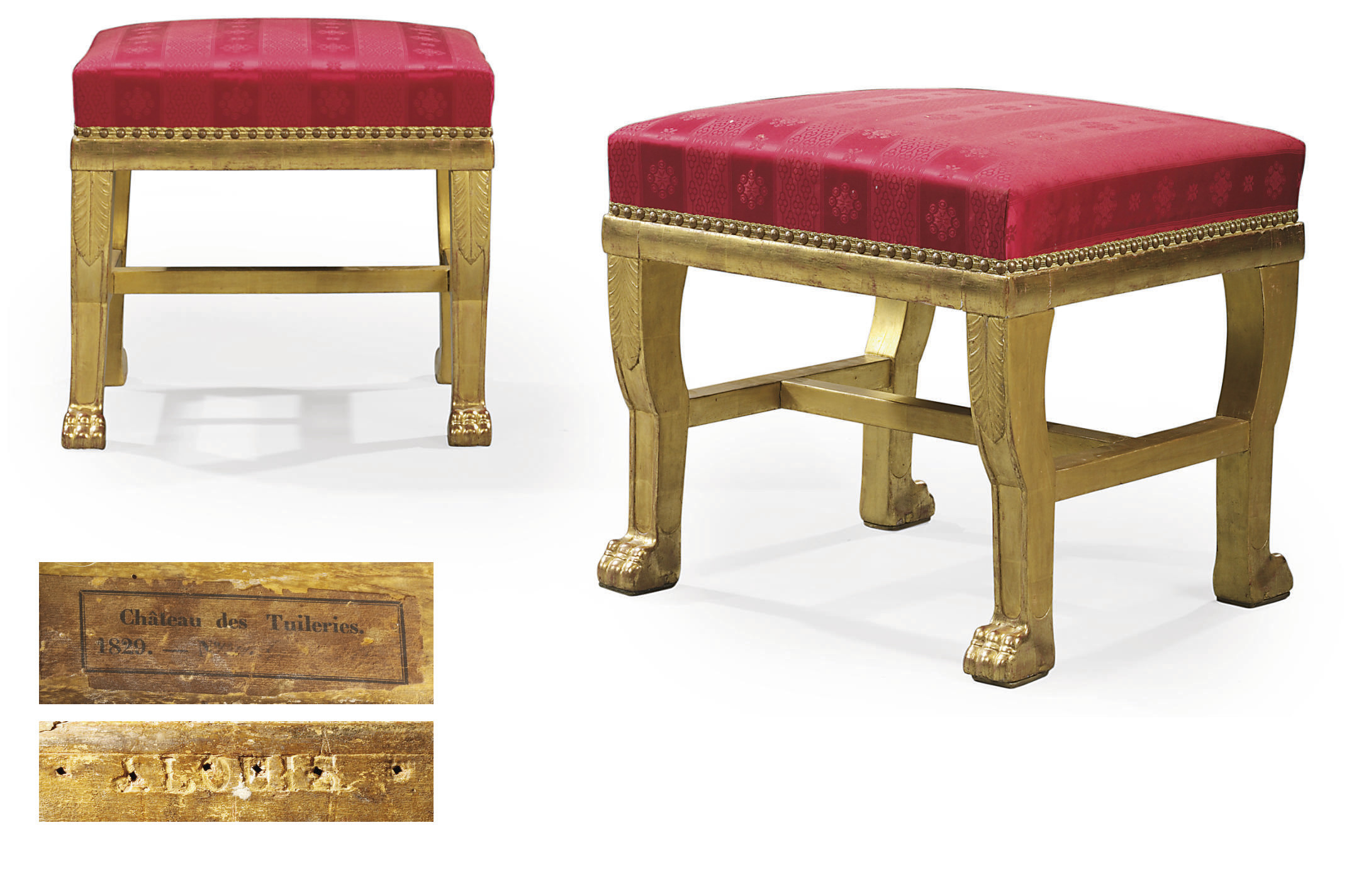 A PAIR OF EMPIRE GILTWOOD TABO