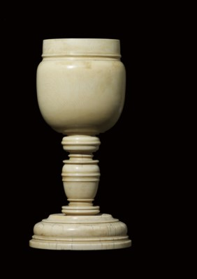 A TURNED IVORY CUP