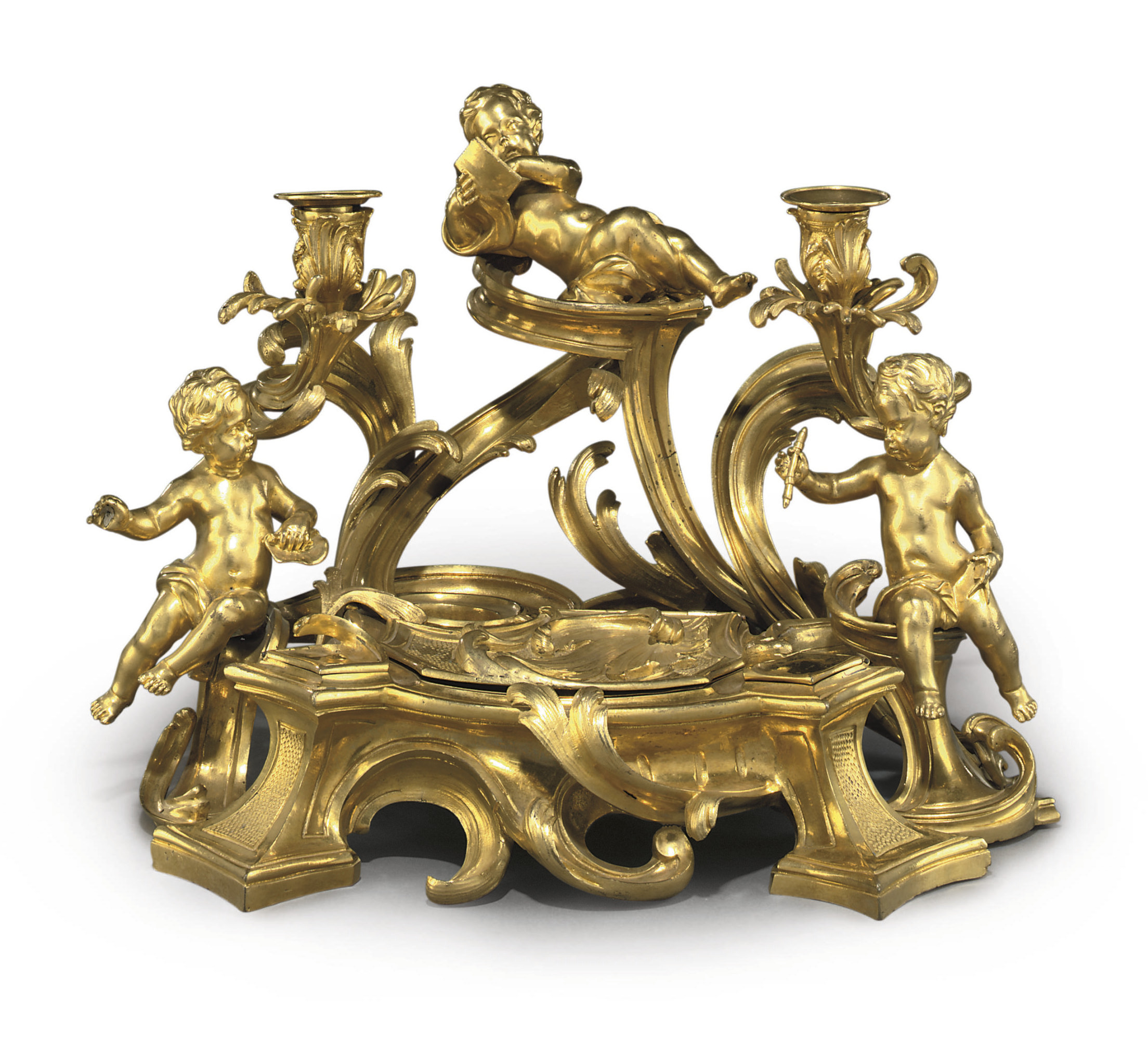 A LOUIS XV ORMOLU TWO-LIGHT ENCRIER