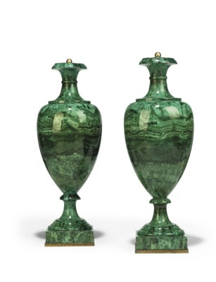 A PAIR OF RUSSIAN MALACHITE-VE