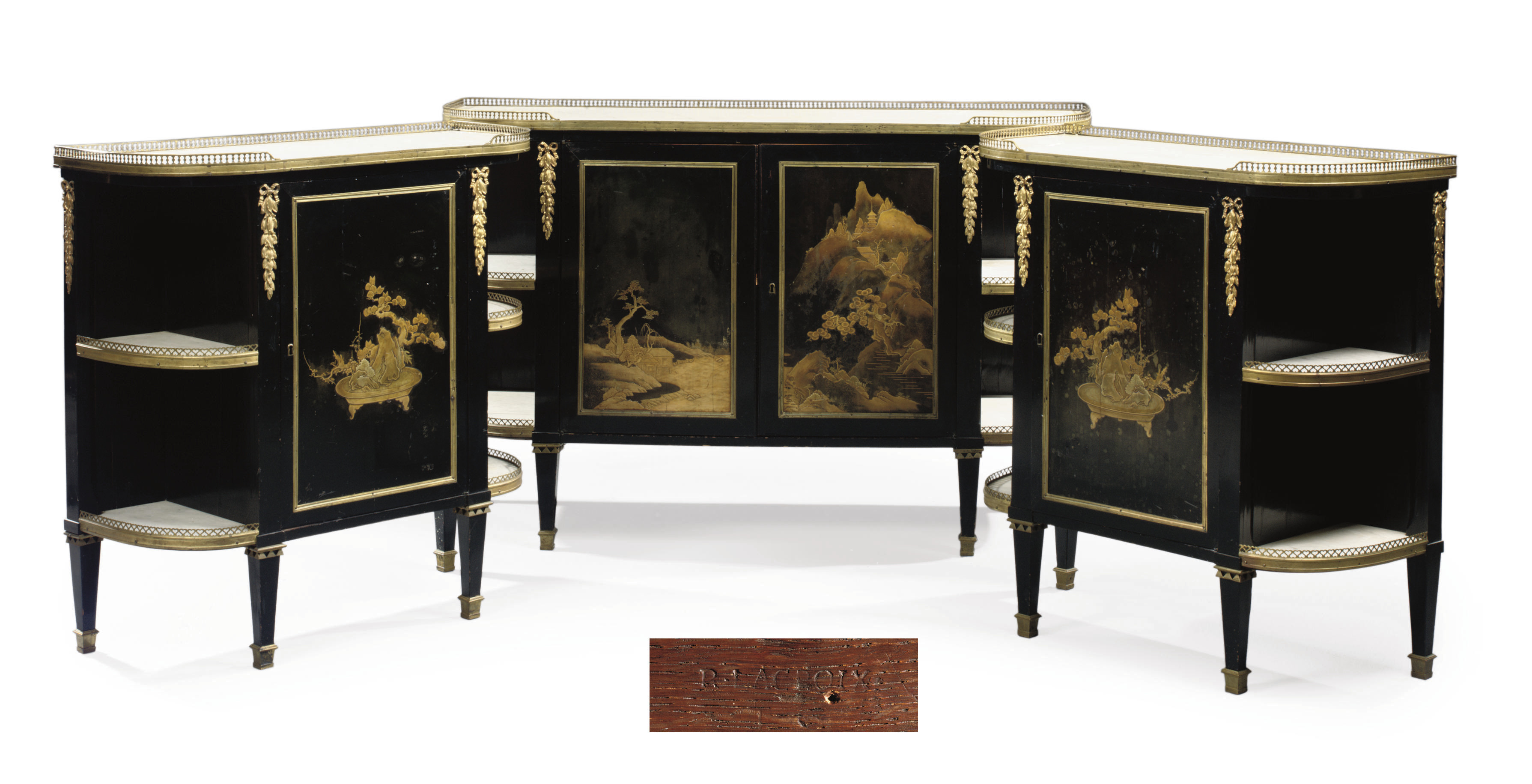 A LOUIS XVI ORMOLU-MOUNTED JAPANESE LACQUER, EBONY AND EBONISED COMMODE A L'ANGLAISE AND TWO MEUBLES A HAUTEUR D'APPUI EN SUITE