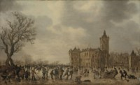 A winter landscape with figures desporting on the ice by Schloss Montfoort