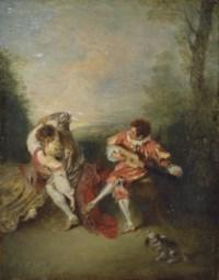 La Surprise: A couple embracing while a figure dressed as Mezzetin tunes a guitar