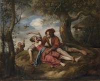 An amorous couple in a landscape