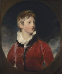Portrait of Frederick William Stewart, 4th Marquess of Londonderry, K.P., M.P. (1805-1872), when a boy, half-length, in a red coat, in a feigned oval