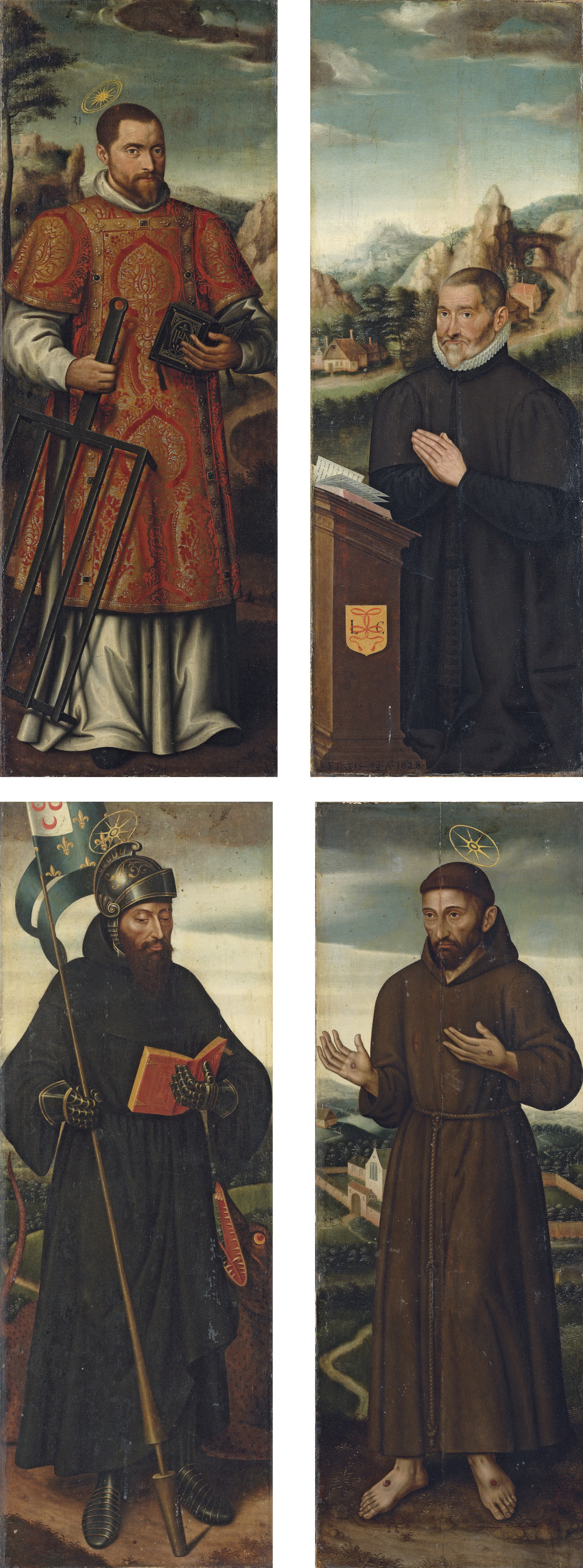 The panels of an altarpiece: Saint Lawrence; Saint George; Saint Francis; and A kneeling donor