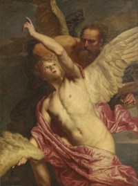 Dædalus fixing wings onto the shoulders of Icarus