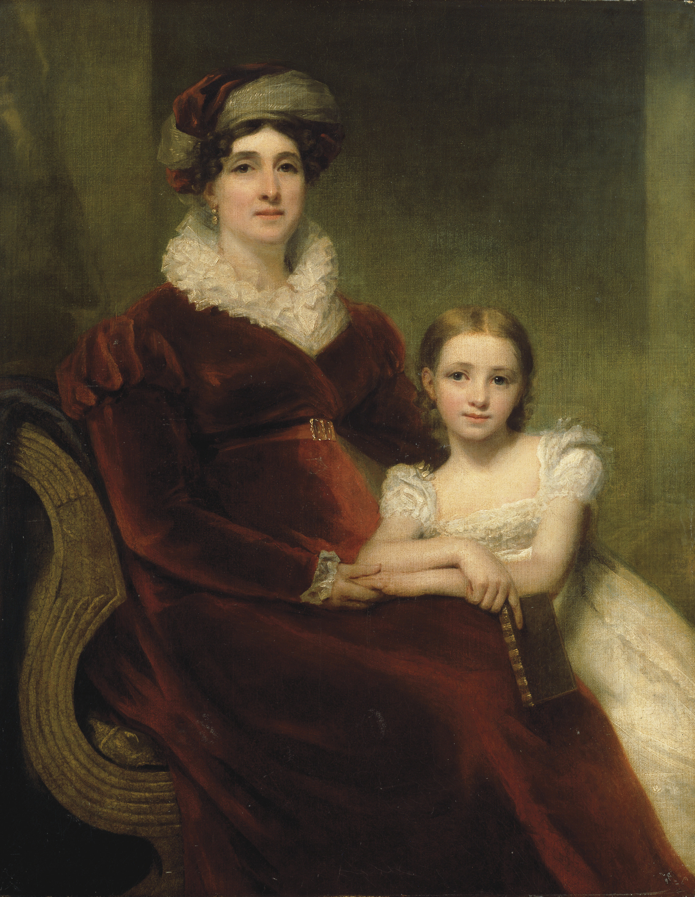 Double portrait of Mrs Alexander Allan, three-quarter-length, seated in a crimson velvet dress with white ruff and cuffs and a crimson and white turban, with her granddaughter, Matilda, in a white lace dress holding a leather bound book