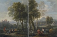 A classical mountainous landscape with a man and a woman seated beneath a tree, a herd of sheep beyond; and A classical mountainous landscape with figures resting by a stream, a castle beyond