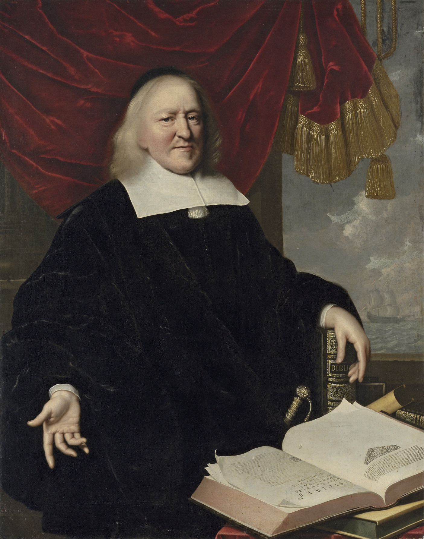 Portrait of Hendrik Thiebaut, three-quarter-length, in black, his left hand resting on a copy of the Bible, an open copy of Annales et Histoires des Troubles du Pais-Bas on the table in front of him, a draped curtain and coastal landscape beyond