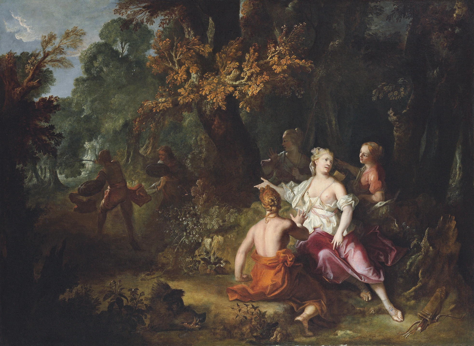 Atalanta and her companions looking at Meleager fighting against one of his uncles